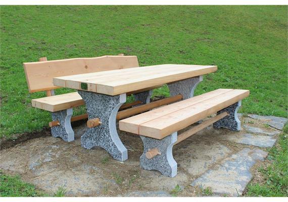 Albrun, Gartensitzgruppe 1 Sitzbank m/o Lehne - Länge 200 cm