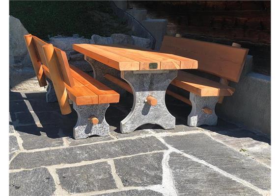 Albrun, Gartensitzgruppe Sitzbänke mit Lehne - Länge 150 cm