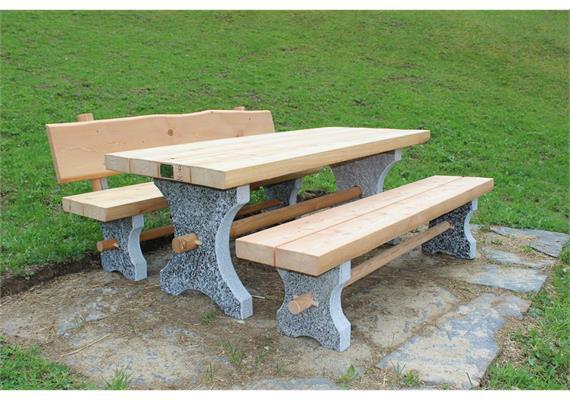 Albrun, Gartensitzgruppe Sitzbänke ohne Lehne - Länge 250 cm