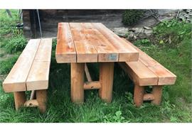 Gartensitzgruppe Jungholz, Sitzbänke ohne Lehne