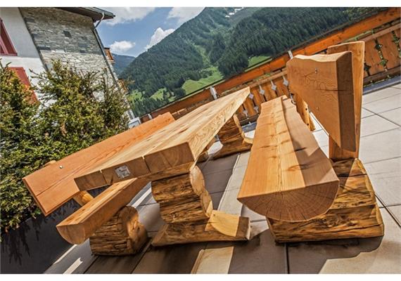 Gartensitzgruppe Pische, Sitzbänke mit Lehne - Länge 250 cm