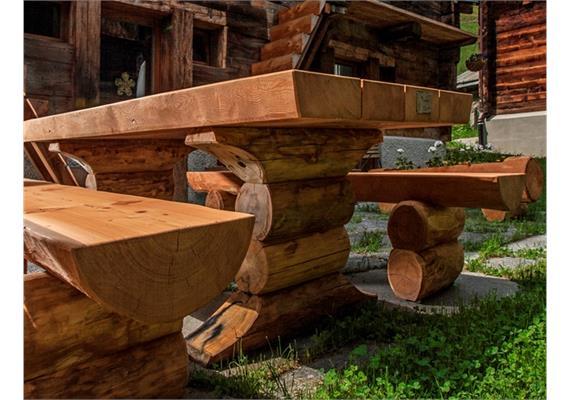 Gartensitzgruppe Pische, Sitzbänke ohne Lehne - Länge 250 cm