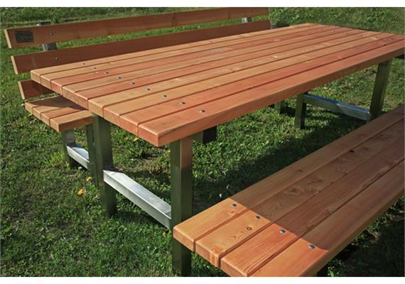 Gartensitzgruppe Tomebine, je ein Sitzbank mit/ohne Lehne - Länge 150 cm